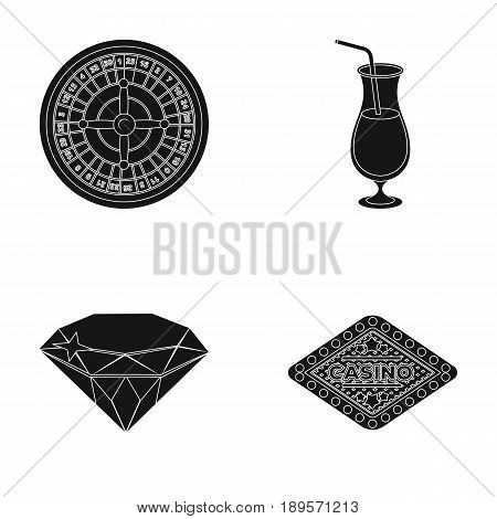 Roulette, a glass with a drink, a diamond, a sign with the inscription Casino. Casino and gambling set collection icons in black style vector symbol stock illustration .