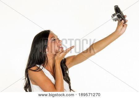 woman making selfi