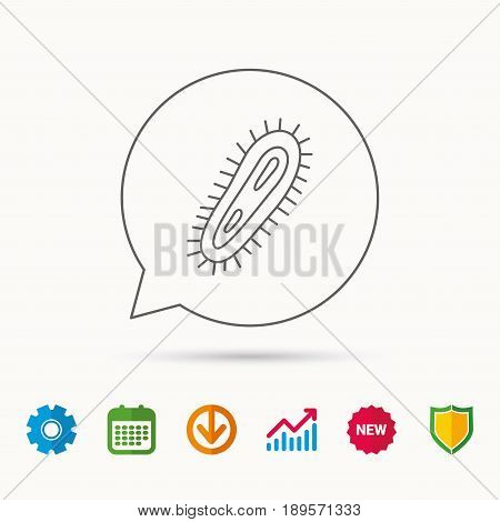 Bacteria icon. Medicine infection symbol. Bacterium or microbe sign. Calendar, Graph chart and Cogwheel signs. Download and Shield web icons. Vector