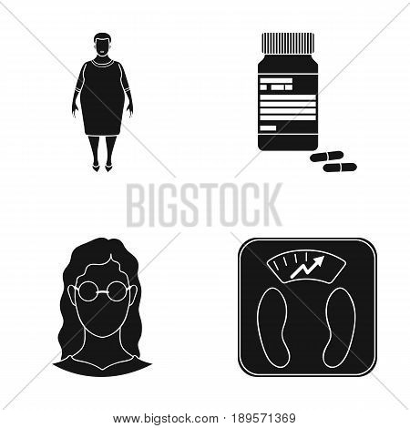 Full woman, a girl with glasses, a scales with exquisite result. Diabeth set collection icons in black style vector symbol stock illustration .