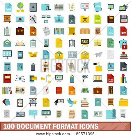 100 document format icons set in flat style for any design vector illustration