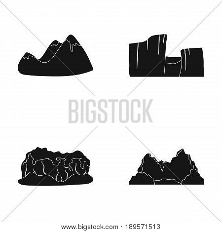Green mountains with snow tops, a canyon, rocks with forests, a lagoon and rocks. Different mountains set collection icons in black style vector symbol stock illustration .