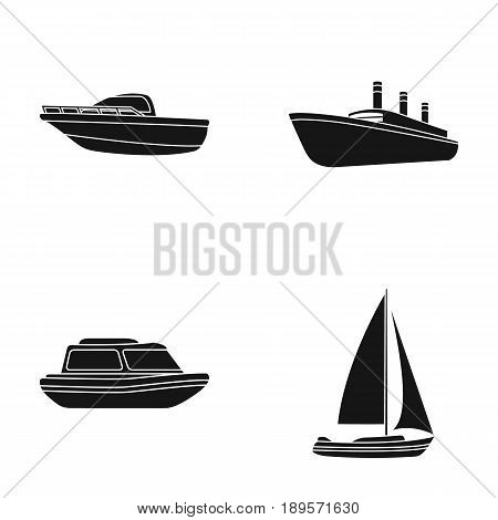 Protection boat, lifeboat, cargo steamer, sports yacht.Ships and water transport set collection icons in black style vector symbol stock illustration .