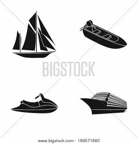 Ancient sailboat, motor boat, scooter, marine liner.Ships and water transport set collection icons in black style vector symbol stock illustration .