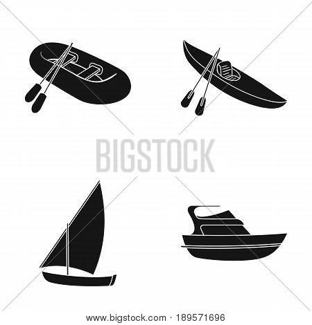 A rubber fishing boat, a kayak with oars, a fishing schooner, a motor yacht.Ships and water transport set collection icons in black style vector symbol stock illustration .