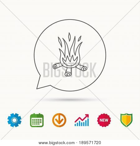 Bonfire icon. Fire sign. Calendar, Graph chart and Cogwheel signs. Download and Shield web icons. Vector