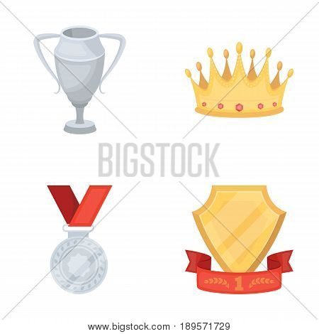 A silver cup, a gold crown with diamonds, a medal of the laureate, a gold sign with a red ribbon.Awards and trophies set collection icons in cartoon style vector symbol stock illustration .