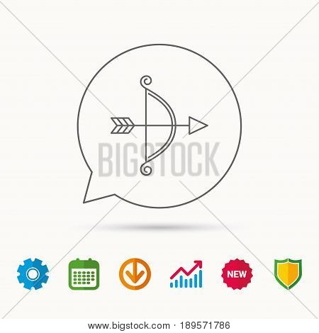 Bow with arrow icon. Valentine weapon sign. Calendar, Graph chart and Cogwheel signs. Download and Shield web icons. Vector