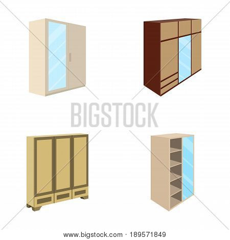 Wardrobe with mirror, wardrobe, shelving with mezzanines. Bedroom furniture set collection icons in cartoon style vector symbol stock illustration .