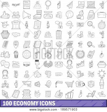100 economy icons set in outline style for any design vector illustration