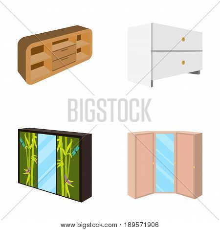 Chest of drawers, wardrobe with mirror, corner cabinet, white chest. Bedroom furniture set collection icons in cartoon style vector symbol stock illustration .