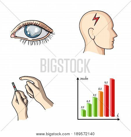 Poor vision, headache, glucose test, insulin dependence. Diabetic set collection icons in cartoon style vector symbol stock illustration .