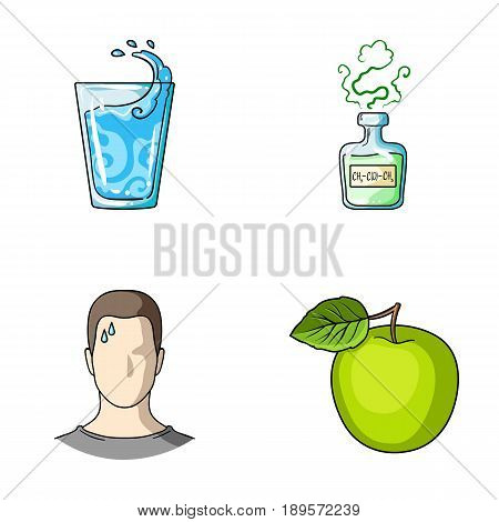 A glass of water, a bottle of alcohol, a sweating man, an apple. Diabeth set collection icons in cartoon style vector symbol stock illustration .