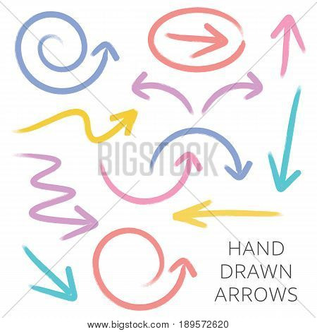 Vector hand drawn arrows collection isolated on white
