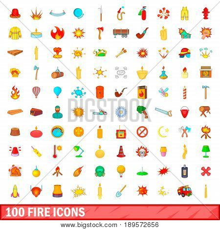 100 fire icons set in cartoon style for any design vector illustration