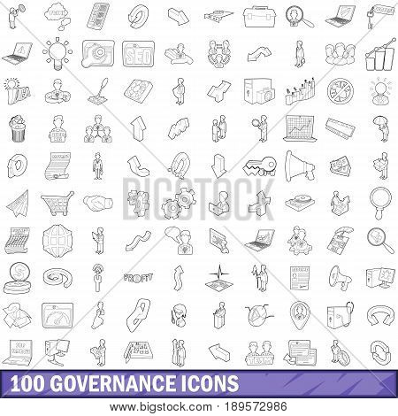 100 governance icons set in outline style for any design vector illustration