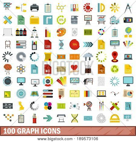 100 graph icons set in flat style for any design vector illustration