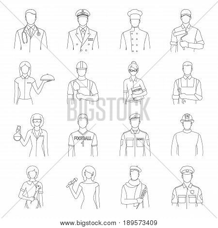 Doctor, worker, military, artist and other types of profession.Profession set collection icons in outline style vector symbol stock illustration .