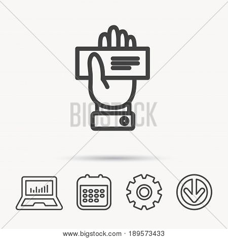 Cheque icon. Giving hand sign. Paying check in palm symbol. Notebook, Calendar and Cogwheel signs. Download arrow web icon. Vector