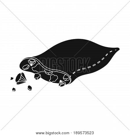A leather bag with diamonds and precious stones.African safari single icon in black style vector symbol stock illustration .