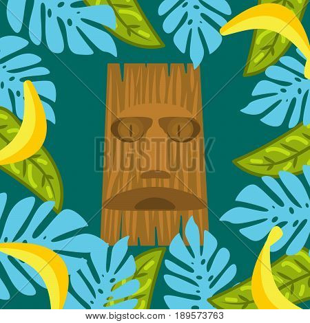 Tiki mask and palm leaves frame background. Hawaii theme, palm leaves and banana fruits.