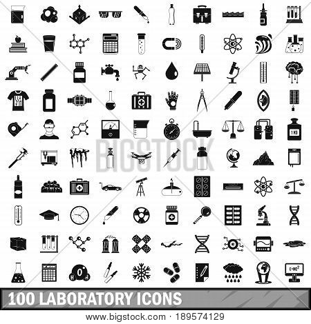 100 laboratory icons set in simple style for any design vector illustration