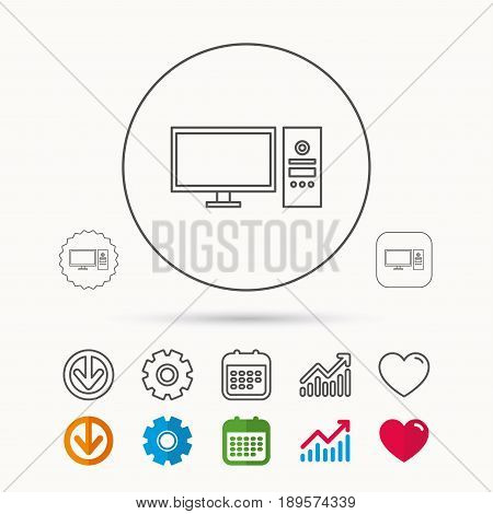 Computer PC icon. Widescreen display sign. Calendar, Graph chart and Cogwheel signs. Download and Heart love linear web icons. Vector