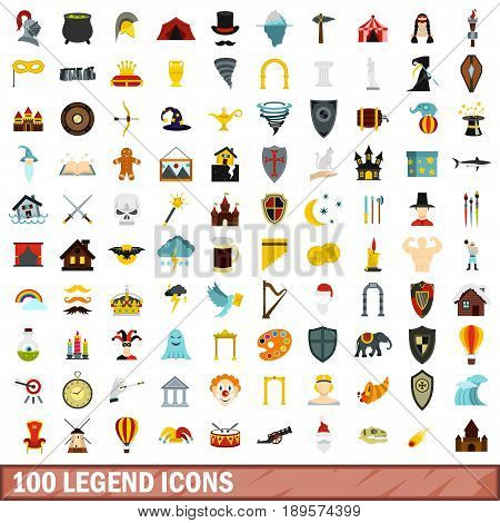 100 legend icons set in flat style for any design vector illustration