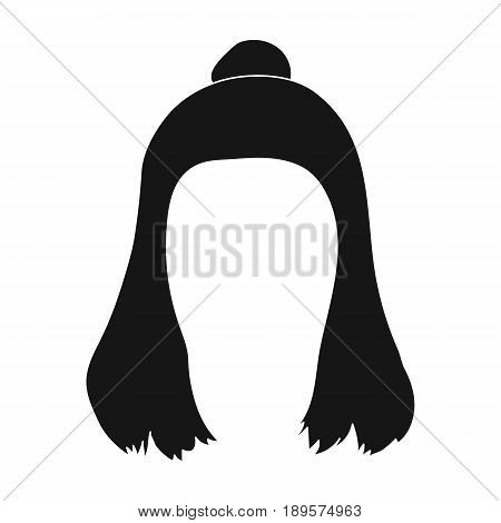 Red with a shingle.Back hairstyle single icon in black style vector symbol stock illustration .