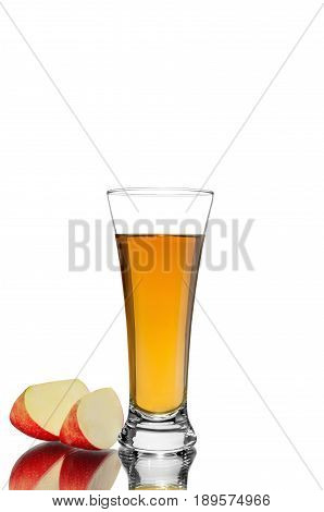 Isolated drink. Cut red apple fruits and glass of fresh juice isolated on white background