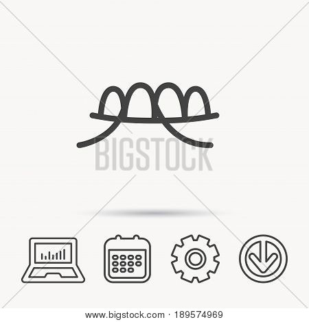 Dental floss icon. Teeth cleaning sign. Oral hygiene symbol. Notebook, Calendar and Cogwheel signs. Download arrow web icon. Vector