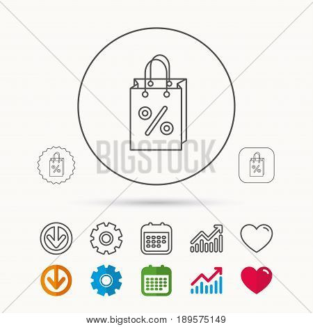 Shopping bag icon. Sale and discounts sign. Supermarket handbag symbol. Calendar, Graph chart and Cogwheel signs. Download and Heart love linear web icons. Vector