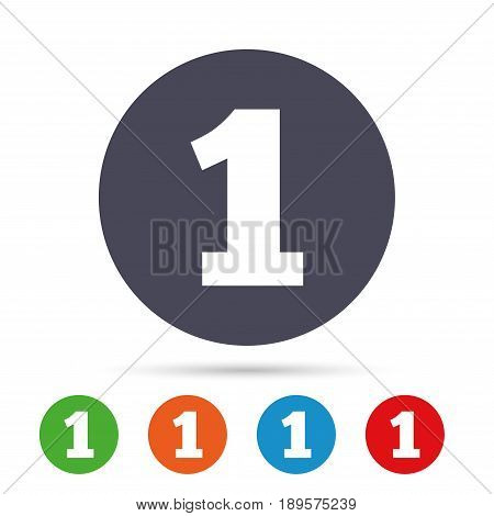 First place award sign. Winner symbol. Step one. Round colourful buttons with flat icons. Vector