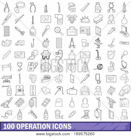 100 operation icons set in outline style for any design vector illustration