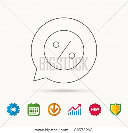 Discount percent icon. Sale sign. Special offer symbol. Calendar, Graph chart and Cogwheel signs. Download and Shield web icons. Vector