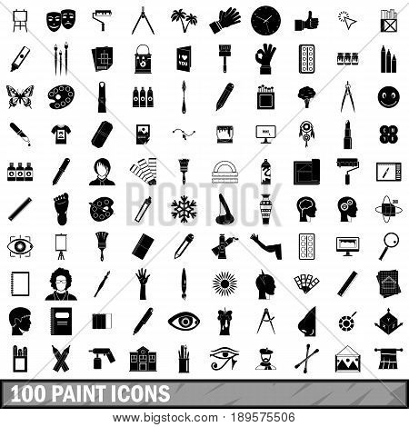 100 paint icons set in simple style for any design vector illustration