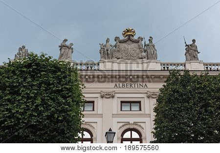 VIENNA, AUSTRIA-MAY 31, 2017: The Albertina Art Museum in the Archduke Albrecht Palais, Vienna