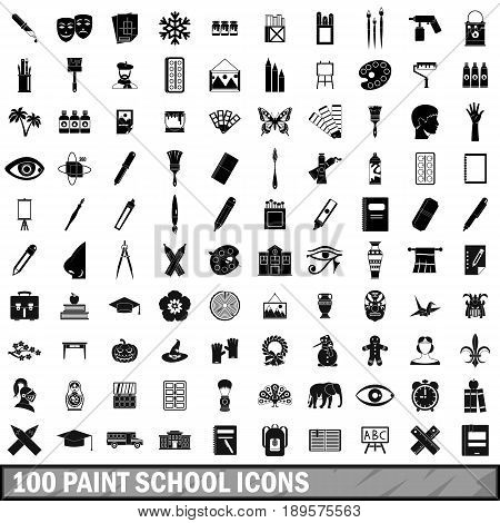 100 paint school icons set in simple style for any design vector illustration