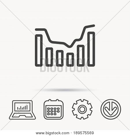 Dynamics icon. Statistic chart sign. Growth infochart symbol. Notebook, Calendar and Cogwheel signs. Download arrow web icon. Vector