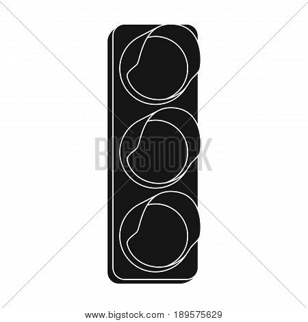 Traffic light for vehicles.Car single icon in black style vector symbol stock illustration .