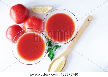 Alcoholic cocktail bloody Mary with lemon view