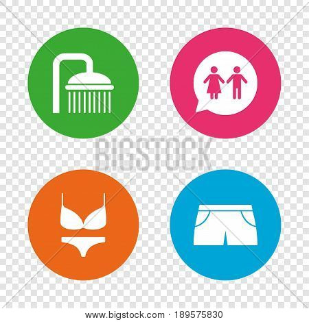 Swimming pool icons. Shower water drops and swimwear symbols. WC Toilet speech bubble sign. Trunks and women underwear. Round buttons on transparent background. Vector