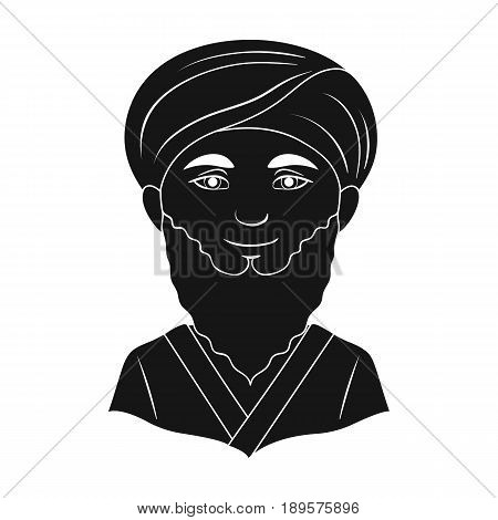 Man from middle Asia.Human race single icon in black style vector symbol stock illustration .