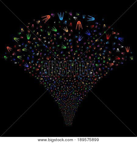 First Satellite salute stream. Vector illustration style is flat bright multicolored iconic symbols on a black background. Object fireworks fountain constructed from random pictograms.