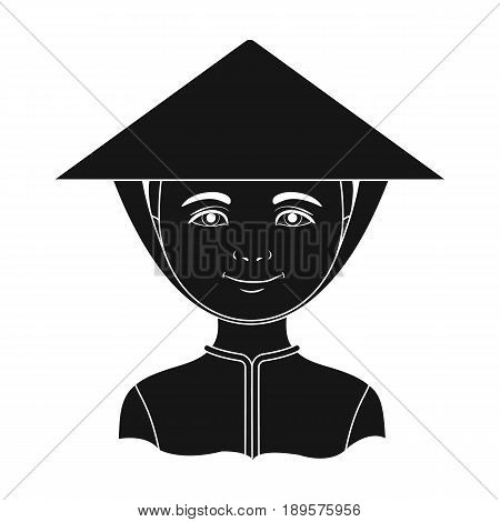 Vietnamese.Human race single icon in black style vector symbol stock illustration .