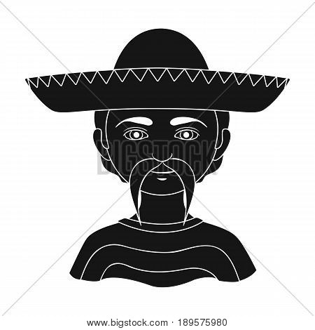 Mexican.Human race single icon in black style vector symbol stock illustration .