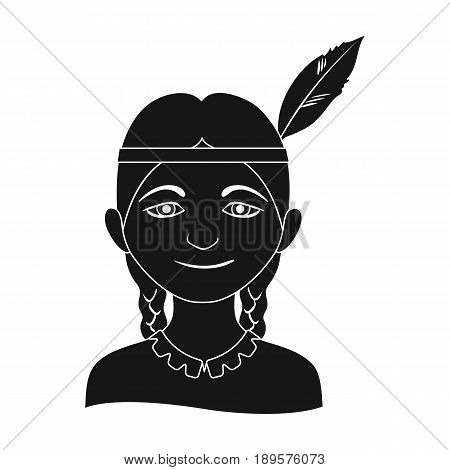 Indian.Human race single icon in black style vector symbol stock illustration .