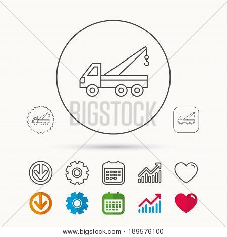 Evacuator icon. Evacuate parking transport sign. Calendar, Graph chart and Cogwheel signs. Download and Heart love linear web icons. Vector