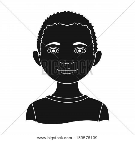 African.Human race single icon in black style vector symbol stock illustration .