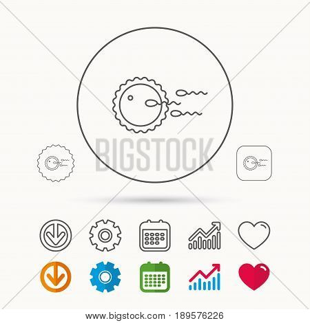 Family planning icon. Fertilization sign. Calendar, Graph chart and Cogwheel signs. Download and Heart love linear web icons. Vector